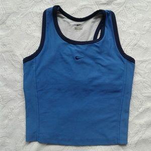 Nike Tank Top Sports Bra Blue Cropped Dri Fit S